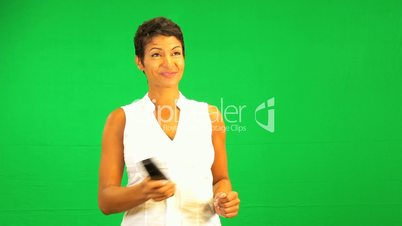 Remote Control Green Screen Ethnic Business Female