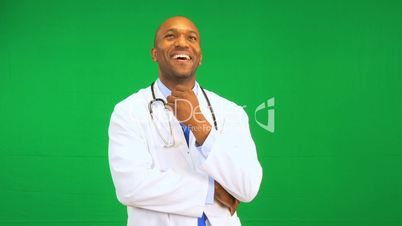 African American Doctor Happy Green Screen Presentation