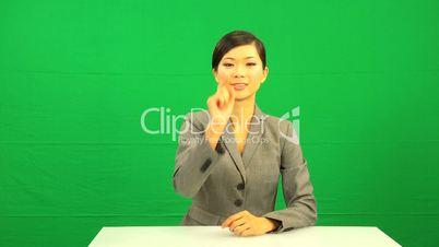 Asian Chinese Female Green Screen Touchscreen