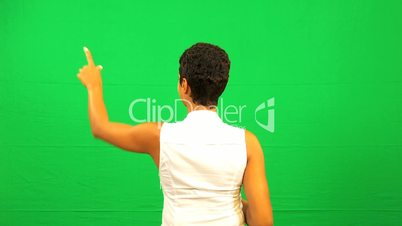 Ethnic Businesswoman Green Screen Touchscreen