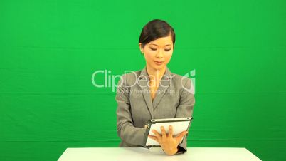 Asian Business Female Wireless Tablet Touchscreen