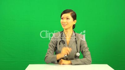 Asian Chinese Female Doctor Green Screen Technology
