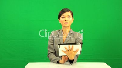 Asian Chinese Businesswoman Green Screen Tablet