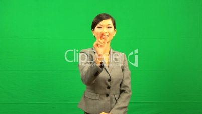 Asian Chinese Female Green Screen Technology