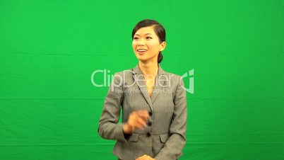 Female Asian Businesswoman Green Screen Touchscreen