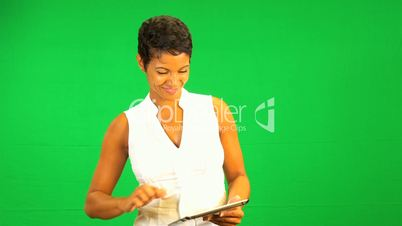 Ethnic Businesswoman Green Screen Tablet