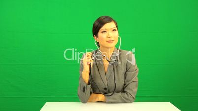 Female Asian Doctor Green Screen Touch screen