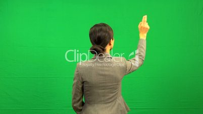 Asian Chinese Business Female Touch Screen Green Screen