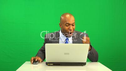 Virtual Environment Success Ethnic Businessman