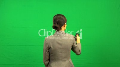 Remote Control Green Screen Asian Business Female