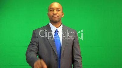 Ethnic Businessman Green Screen Touchscreen