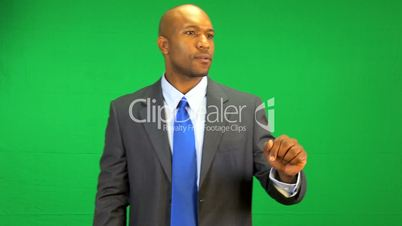 African American Businessman Touch Screen Green Screen