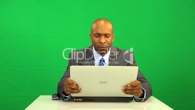 African American Laptop Green Screen Disappointment