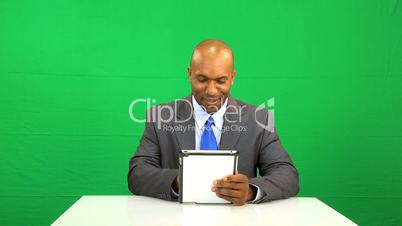 Wireless Tablet Green Screen Success Ethnic Businessman