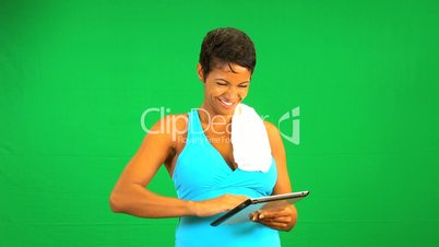 Tablet Fitness Green Screen African American Female