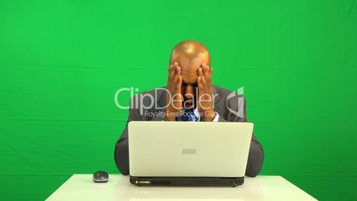 Ethnic Businessman Frustration Laptop Connection Green Screen