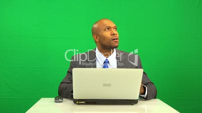 Laptop Green Screen Disappointment Ethnic Male