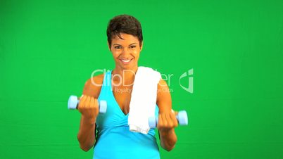 Green Screen Weight Training African American Female