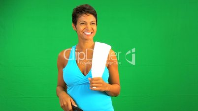 Ethnic Female Remote Green Screen Technology