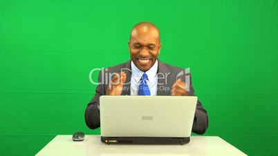 Ethnic Business Man Excited Virtual Environment Success
