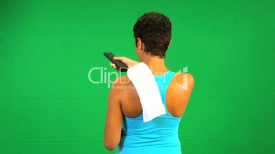 Fitness Female Remote Control Green Screen