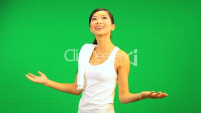 Asian Female Fitness Green Touch Screen