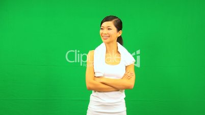 Confident Asian Female Fitness Green Screen