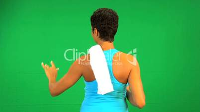 African American Female Fitness Green Touch Screen