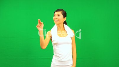 Asian Chinese Female Fitness Touch Green Screen