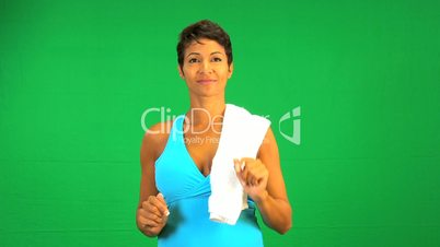 Ethnic Female Fitness Green Touch Screen