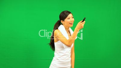 Asian Female Fitness Remote Green Screen Technology