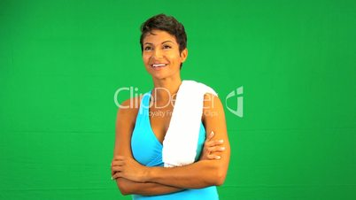 Confident Ethnic Fitness Female Green Screen