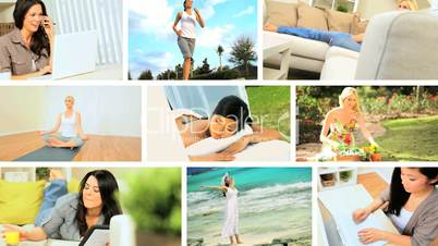 Montage Images of Young Females Modern Lifestyle