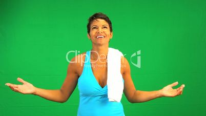 Satisfied Ethnic Fitness Female Green Screen