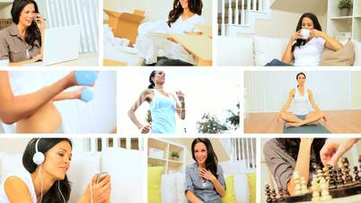 Montage Images of Young Female Modern Lifestyle