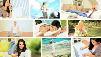 Montage of Young Females Living Modern Lifestyles