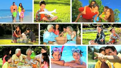 Montage Images of Modern Lifestyle of Caucasian Family