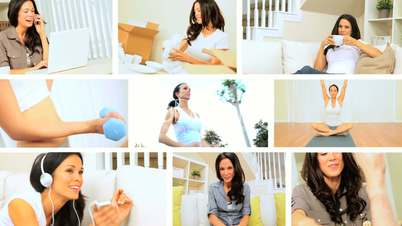 Montage of Young Brunette Female Living Modern Lifestyle