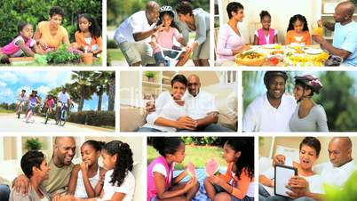 Montage of Modern Lifestyle of Young Ethnic Family