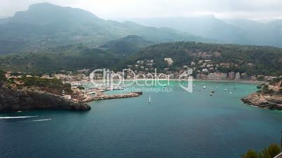 Beautiful bay in Port de Soller, Mallorca Island, Spain