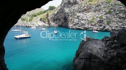 Yachts in beautiful bay, Sa Calobra, Mallorca Island, Spain