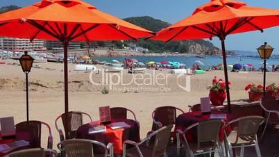 Cafe next to the beach, Tossa de Mar, Costa Brava, Catalonia, Spain