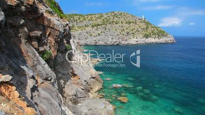 Lighthouse on hill in Port de Soller, Mallorca Island, Balearic Islands, Spain