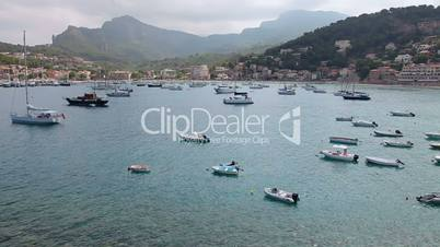 Boats and yachts in Port de Soller, Mallorca Island, Spain