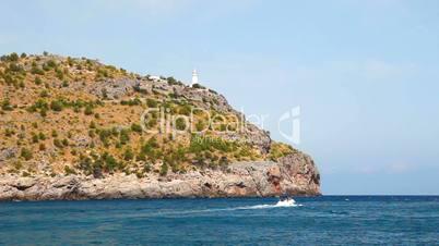 Lighthouse on hill, Mallorca Island, Spain