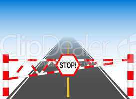The road with a barrier