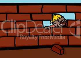 Bricklayer Closing Wall