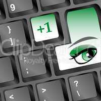 Protection concept: Enter button with Eye on computer keyboard, 3d