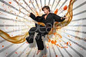 Martial arts expert mid air