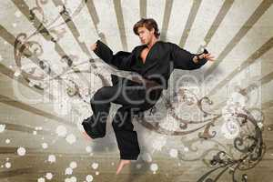 Martial arts expert jumping